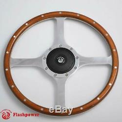 15 '' Steering Wheel Classic Riveted Wood Grain Catering For Mg Mgb Midget