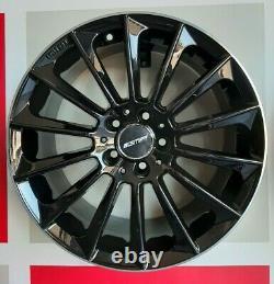 4 Alloy Wheels Stellar Black Diamond Lip 8x18 Et35 5x112 66.6 Made Italy