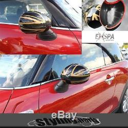 Black Union Jack Rearview Mirror Caps / Covers For Golden One Cooper F56