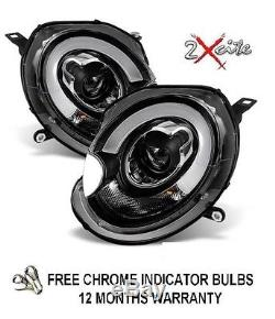 Bmw Mini 2007-2013 R55 & R56 Black Led Bar Light Drl R8 Headlights Projector