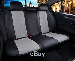 Deluxe Ultra Premium Gray Black Pu Leather Full Set Seat Cushion Covers For
