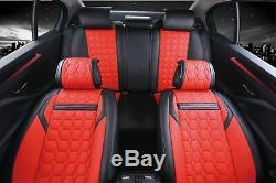 Deluxe Ultra Premium Red Black Pu Leather Full Set Seat Cushion Covers For