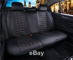 Luxury Ultra Premium Black Pu Leather Red Complete Set Cushion Seat Covers For