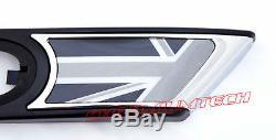 Mini Cooper R55 R56 R57 R58 R59 Black Union Jack Side Chrome Portlights Repeater
