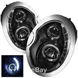 BMW MINI 01-06 R50 R52 53 NOIR LED R8 PROJECTEUR DRL & halo ange oeil