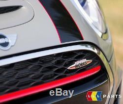 Neuf D'Origine Mini F55 F56 F57 Jcw Coupe Capot Bande Noir avec Rouge Rayure