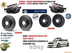 Pour Mini Cooper R57 Cab 09-15 avant & Arrière Performance Frein Disque de +
